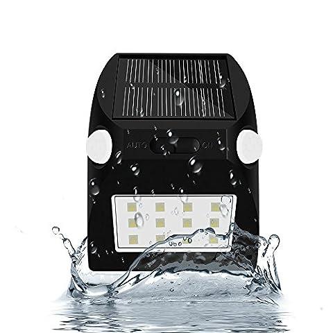 Solar Wandleuchte Dual Motion Sensor mit 12 RGBW LEDs Wateproof für Garten, Haus, Camping, Barbecue, Landschaft, Hof, Flur, Garage, Veranda Wand Dekorative Lichter