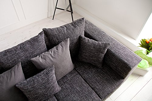Design XXL Sofa BIG SOFA ISLAND in grau charcoal Strukturstoff inkl. Kissen - 6