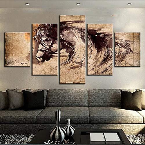 Leinwand bild wohnzimmer dekorative bilderrahmen 5 stücke abstrakte pferd tier ölgemälde druck kalligraphie linie poster modulare wandkunst haus und garten malerei 30X50 30X70 30X80 CM rahmenlose