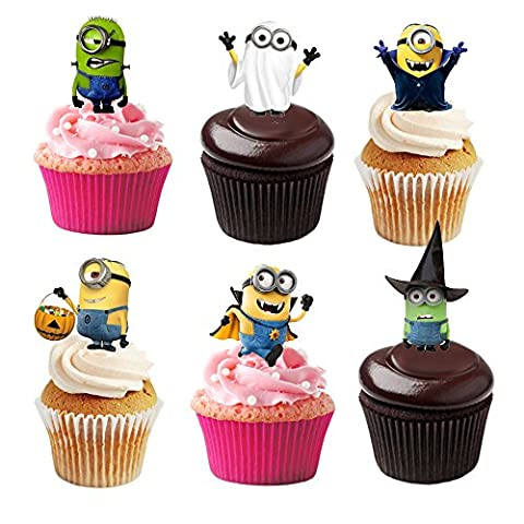 36 Minion Halloween Stand Up Premium Edible Wafer Paper Cake Toppers Decorations