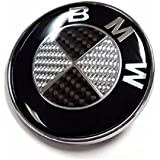 Logo 82 mm noir blanc carbone capot coffre embleme