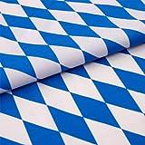 Hans-Textil-Shop Stoff Meterware Bayern Raute Weiß Blau