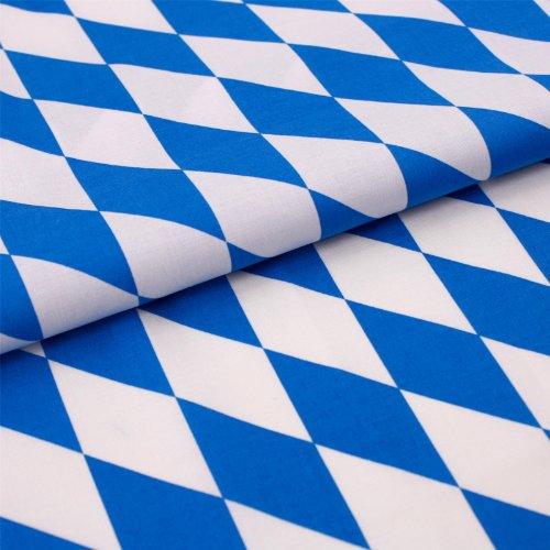 Hans-Textil-Shop Stoff Meterware Bayern Raute Weiß Blau Baumwolle Freistaat Fahne Flagge Bayernfahne - 1 Meter