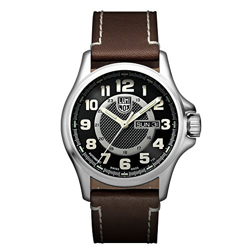 Luminox Field Automatic Day Date Men's Automatic watch with Black dial featuring LLT Luminox light Technology 43 millimeters Stainless Steel case and Brown Leather Strap  XL.1801.NV