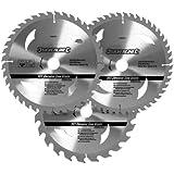 Silverline 408979 Lot de 3 lames de scie circulaire 24T, 40T et 48T 205 x 30 mm