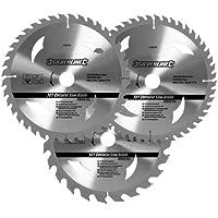 Silverline 408979 Hartmetall-Kreissägeblätter mit 24, 40 und 48 Zähnen, 3er-Pckg. 205 x 30, Reduzierstücke: 25, 18 u. 16 mm