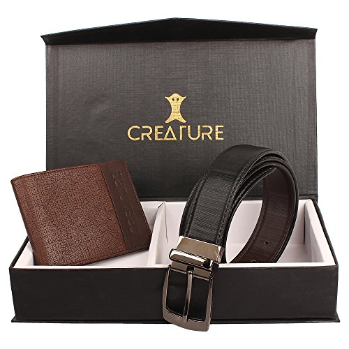 Creature Pu-Leather Wallet For Men With Multiple Card Slots And Reversible Pu-Leather Formal Belts For Men(BL-06 P-001)