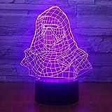 Dark Vador Casque 3d Led Veilleuse Électrique Illusion Lampe 7 Couleur Changement...