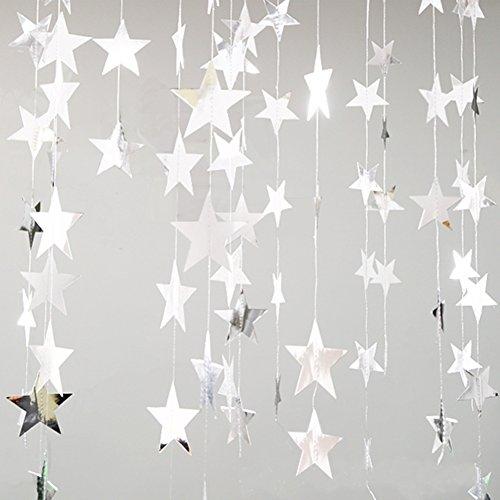 Girlande Dekorationen Glitter Stern Papier Hängend Deko für Hochzeit Braut Baby Duschen Geburtstag Weihnachten Party (Silber) ()