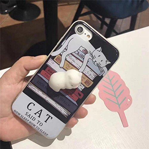 Ouneed® Für iPhone 7 4.7 Zoll Hülle , Squishy Katze 3D Cat Phone Case weiche Silikon Cartoon Plastik für nail finger pinch für Entspannung für iPhone 7 4.7 Zoll (A) A