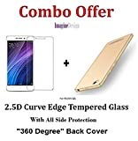 WOW Imagine Combo Pack of 2.5D 0.3mm Toughened Tempered Glass Screen Protector and All Sides Protection 360 Degree Sleek Rubberised Matte Hard Back Case Cover (Champagne Gold) for XIAOMI MI REDMI 4A