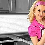 Küchenrückwand < Ziegelwand Weiß > Premium Hart-PVC 0,4 mm selbstklebend 220x60cm