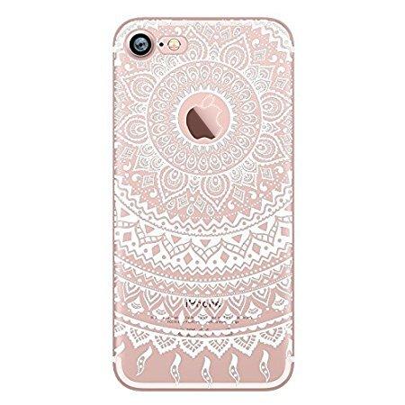 Coque iPhone 6S, UCMDA Coque iPhone 6 Ultra Mince Silicone Transparent Housse [Exact Fit] Souple Protectrice Bumper Etui avec Motif pour iPhone 6S/ 6 (Mandala blanc)
