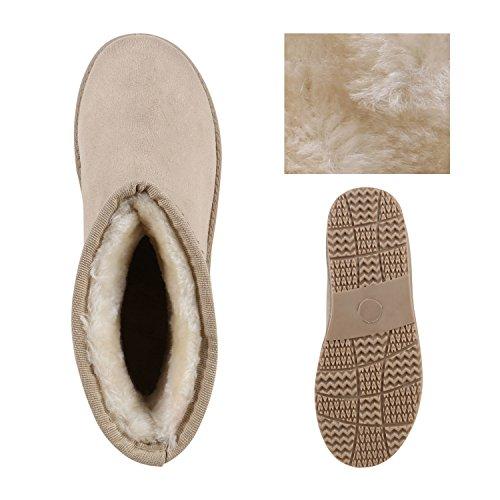 Damen Schuhe Schlupfstiefel Warm gefüttert Creme Strass