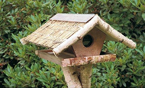 """Vogelfutterhaus mit Reetdach, """"Silo – Haus"""" incl. Birkenständer mittel – schwer - 3"""