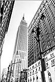 Posterlounge Leinwandbild 120 x 180 cm: New York City - Empire State Building (Schwarz weiß) von Sascha Kilmer - fertiges Wandbild, Bild auf Keilrahmen, Fertigbild auf Echter Leinwand, Leinwanddruck