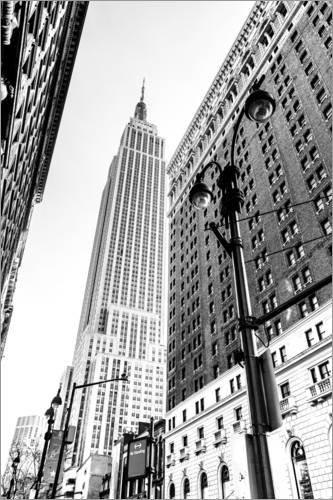 Posterlounge Acrylglasbild 20 x 30 cm: New York City - Empire State Building (schwarz weiß) von Sascha Kilmer - Wandbild, Acryl Glasbild, Druck auf Acryl Glas Bild