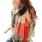 Sciarpa Donna Inverno , donna inverno scialle maglione cappotto Girl grandi Tartan Wrap Maglia ...