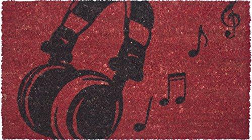 DINTEX LOVE MUSIC - FELPUDO DE COCO ANTIDESLIZANTE  40 X 70 CM  COLOR ROJO