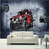 BIZHIGE Fototapete 3D Stereo Motocross Autowand Wandbild Tapete Wohnzimmer Schlafzimmer Cafe Rennstrecke Tapete-220 × 140Cm