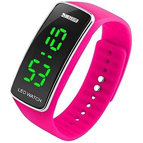 So vedere Unisex Sport orologio digitale con display LED amanti orologio da polso rosa scuro - Polso Amanti Orologi