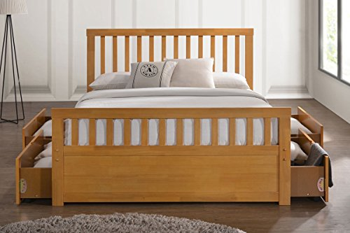 Delamere Wooden Storage Bed Frame With Drawers- Double, King Size (Double 4ft 6, Honey Oak)