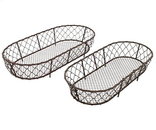 2er Set Körbe aus Draht ~ Deko und Aufbewahrung für Tisch, Küche , Regal, Schrank ~ 31cm (Antik-draht-körbe)