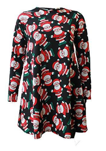 Femme de Noël Santa robe tartan Swing Mesdames haut évasé Motif fille Black Santa
