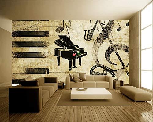 Tapete Hintergrund-Tapetenbenutzerdefinierte 3D Musik Bar Tapete Rose Piano Retro Hintergrund Wand Wohnzimmer Dekoration Wandbild Günstige Cafe Tapete, 400 * 280 Cm