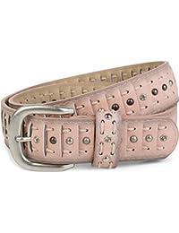 8a172ff6654a83 styleBREAKER geschlitzter Nietengürtel im Cut Style mit Nieten,  Strasssteine und Schnürung, Vintage Gürtel,