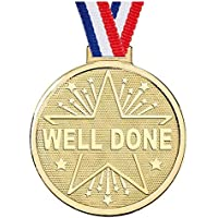 Trophy Store Gold Well Done Medal award, 5 cm, Free Ribbon, Free engraving up to 45 letters AM1182.01