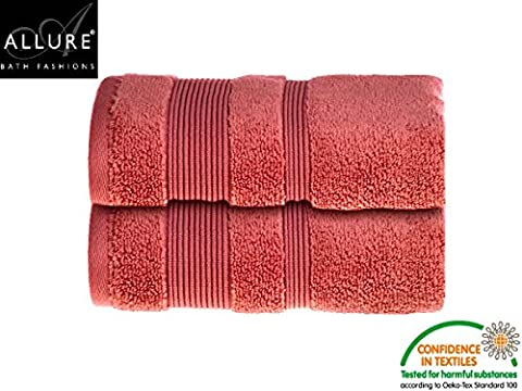 Luxury Supersoft Egyptian Cotton Towels by Allure Bath Fashions 2 x Absorbent and Quick Dry Hand Towels Set 50 x 85cm 500gsm - Coral (2x Hand