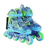 LEBEE Pattini A Rotelle per Bambini Roller Shoes Bambini Pattini da Ginnastica Fitness Esercizio Regolabile Unisex,Blue-S