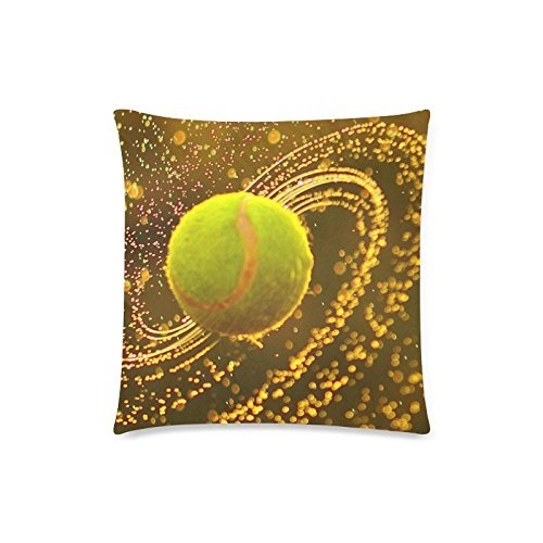 Funny Tennis Ball Cushion Case - Square Pillowcase Cushion Case Throw Pillow Cover with Invisible Zipper Closure - 18x18 inches, Twin-sided Print