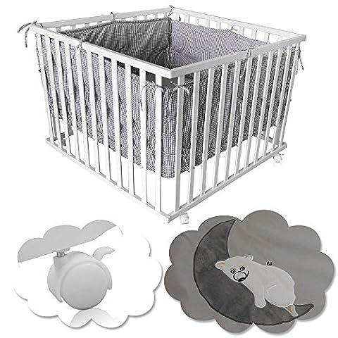 Hikenn Baby Laufgitter Kinder Krabbelgitter Laufstall höhenverstellbar + Einlage Bett (weiß/grau)
