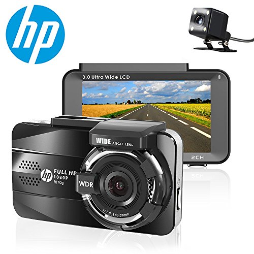 HP Dash Cam front and rear Dual Lens In Car Camera DVR Full HD 1080P,3.0'' IPS Screen,Built-in GPS Tracker,Night Vision,G-sensor, Motion Detection,Parking monitor