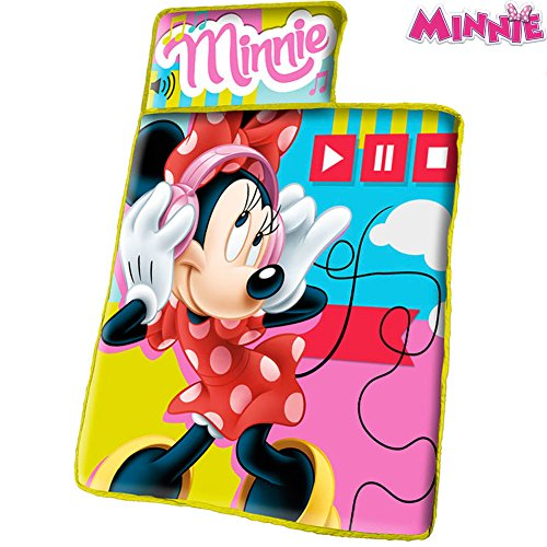 Minnie tappetino piumino copri letto con imbottitura + coperta e cuscino campeggio sacco a pelo senza cerniere per bambine