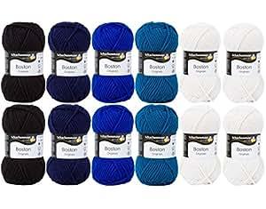 Schachenmayr boston laine wollmix schachenmayr boston-set 12 fil (de 50 g), en wolleset wollfarben intensif pour le tricot, le crochet et la laine dans les tons de boston touche boston schachenmayr laine de qualité, de qualité-grand myOma wollset ciel