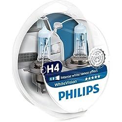 Philips PH H455W Ampoules Halogène Vision H4 12 V, Blanc, Set de 2