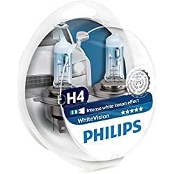 Philips 12342WHVSM Lampe de Phare WhiteVision Xenon Effect H4, 3700K, Emballage Double