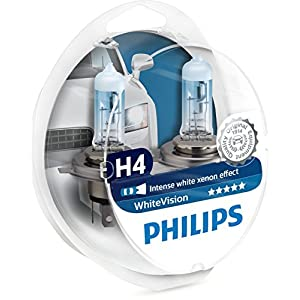 Philips 12342WHVSM White Vision Xenon Effect H4 Headlight Lamp, 3700K, Twin Pack