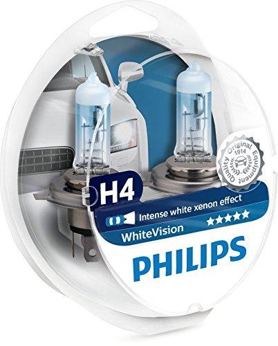 Philips 12342WHVSM WhiteVision Effetto Xenon H4 Lampada Fari, 3700K, Confezione Do