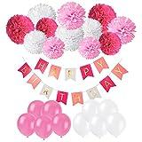 Produkt-Bild: Geburtstag Party Dekoration, Recosis Happy Birthday Wimpelkette Banner Girlande mit Seidenpapier Pompoms und Luftballons für Mädchen und Jungen Jeden Alters - Rosa, Pink und Weiß