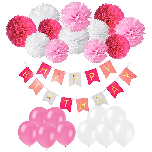 Geburtstag Party Dekoration, Recosis Happy Birthday Wimpelkette Banner Girlande mit Seidenpapier Pompoms und Luftballons für Mädchen und Jungen Jeden Alters - Rosa, Pink und Weiß
