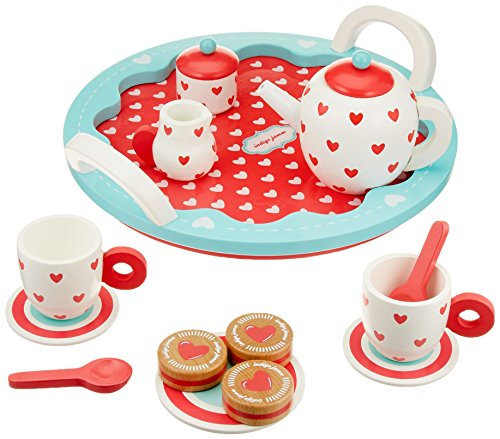 Indigo Jamm Wooden Tea Set, Pretend Play Tea Party Tray with 10 Tea Set Pieces and 3 Wooden Biscuits – Hearts