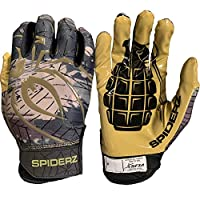 ‏‪Spiderz RAW Adult Football Gloves (Kaboom, Adult X-Small)‬‏