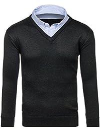 BOLF Herren Pullover mit Hemdkragen V-Neck Mock Hemd Einsatz 5E5 MIX
