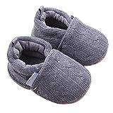 Baby Schuhe Sneaker Anti-Rutsch Weiche Sohle Kleinkind Schuhe Lauflernschuhe Krabbelschuhe Wollgarn Luckygirls (0 ~ 6 Monate, Grau)