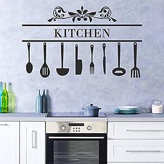 decalmile Stickers Cuisine Couteau Fourchette Cuillère Cuisine Decoration Murale Vinyle Amovible Autocollants Muraux