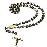 Damen Herren Kugel Halskette mit Kreuz Anhänger Jesus Christian gold schwarz , OIDEA Exquisit Rosenkranz kette Edelstahl Gummi Armkette Armreif Handgelenk Armschmuck